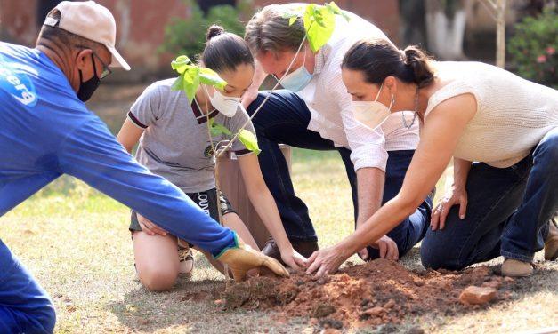 Dia da Árvore em Louveira teve plantio de mudas e troca de lixo eletrônico e óleo por plantas