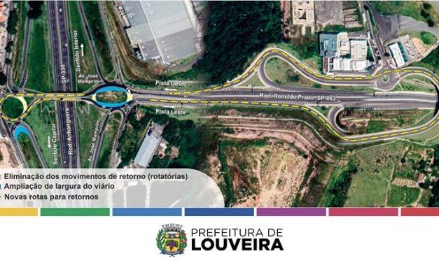 Obras de adequação no trevo do km 71, na Anhanguera, começam nesta quarta-feira (1) em Louveira