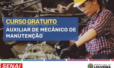Curso gratuito de auxiliar de mecânico de manutenção está com inscrições abertas em Louveira